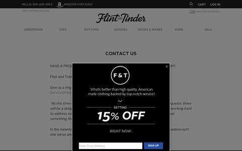 Screenshot of Contact Page flintandtinderusa.com - Flint and Tinder - Proudly Made in America | Contact Us - captured Sept. 12, 2014