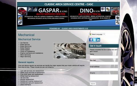 Screenshot of Services Page casc.co.za - Mechanical   CLASSIC ARCH INVESTMENTS - captured Oct. 2, 2014
