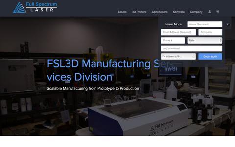 Screenshot of Services Page fslaser.com - Full Spectrum Laser | Service Bureau - captured Feb. 10, 2016
