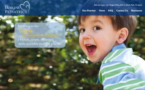 Screenshot of Home Page Contact Page FAQ Page burgesspediatrics.com - Returning to the 'new old-fashined medicine.' » Burgess Pediatrics - captured Sept. 30, 2014