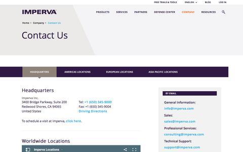 Screenshot of Contact Page imperva.com - Contact - captured June 25, 2017