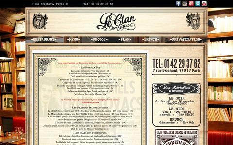 Screenshot of Menu Page leclandesjules.com - LA CARTE DU CLAN - RESTAURANT A PARIS 17ème Arrondissement - captured March 2, 2016