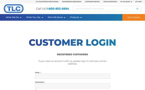 Screenshot of Login Page tlcelectronics.com - Customer Login - captured Oct. 19, 2018
