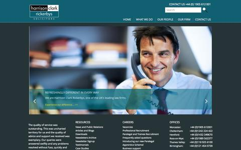 Screenshot of Home Page hcrlaw.com - Solicitors Worcester| Cheltenham | Hereford | Thames Valley - captured Sept. 25, 2014