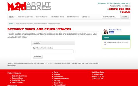 Screenshot of Signup Page madaboutboxes.co.uk - Sign Up for Coupon and Discount Codes from Mad about Boxes - captured Sept. 30, 2014