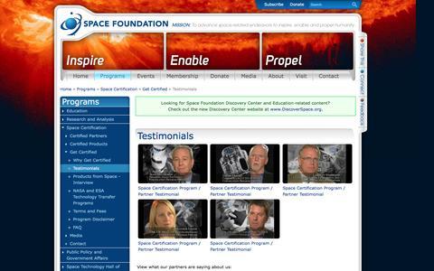 Screenshot of Testimonials Page spacefoundation.org - Testimonials | Space Foundation - captured Dec. 6, 2016