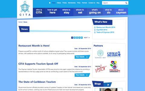 Screenshot of Press Page cita.ky - Cayman Islands Tourism Association - News - CITA - captured Oct. 2, 2014