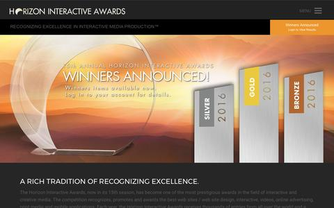 Screenshot of Home Page horizoninteractiveawards.com - Horizon Interactive Awards : Website Awards | Web Design Awards | Web Site Awards for Mobile Apps, Video - captured May 21, 2017