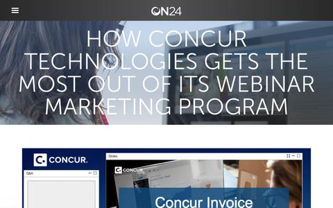 Screenshot of Case Studies Page on24.com - Case study: Concur Technologies   ON24 - captured Oct. 12, 2017