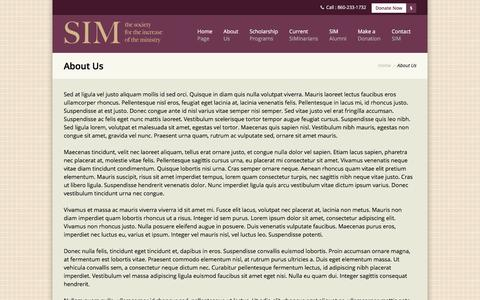 Screenshot of About Page simministry.org - The Society for the Increase of the Ministry | About Us - captured Feb. 15, 2016