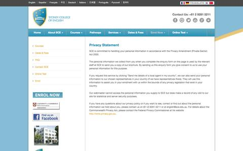 Screenshot of Privacy Page sce.edu.au - Study English at Sydney College of English   Sydney   Cambridge FCE, CAE and CPE, IELTS, TOEIC, Business and Evening courses Privacy Policy  - Study English at Sydney College of English   Sydney   Cambridge FCE, CAE and CPE, IELTS, TOEIC, Business an - captured Oct. 6, 2014