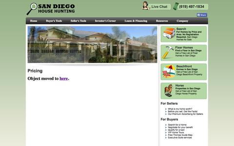 Screenshot of Pricing Page sdhousehunting.com - San Diego House Hunting, know your property's worth! - captured Oct. 4, 2014