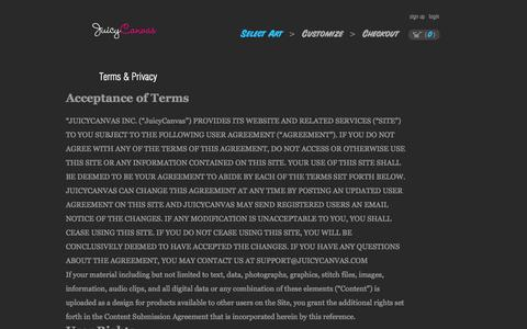 Screenshot of Terms Page juicycanvas.com - Terms & Privacy » JuicyCanvas - captured Nov. 11, 2015