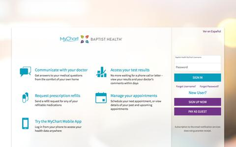 Baptist Health MyChart - Login Page