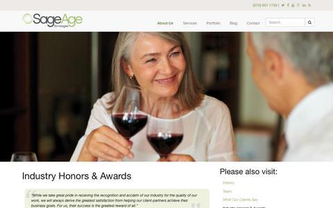 Screenshot of sageagestrategies.com - Industry Honors & Awards | Sage Age Strategies - captured March 19, 2016