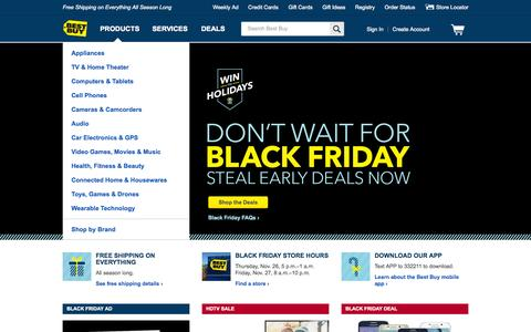 Screenshot of Home Page bestbuy.com - Best Buy: Free Shipping on Everything All Season Long - captured Nov. 23, 2015