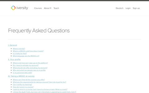 Screenshot of Support Page iversity.org - Frequently Asked Questions - captured Oct. 28, 2014