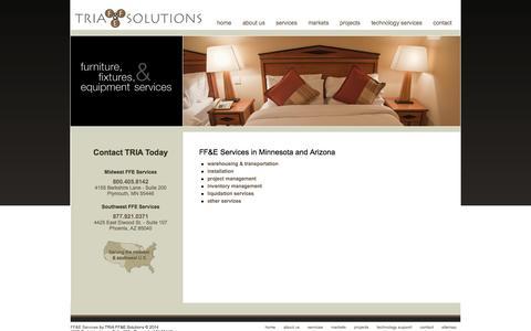 Screenshot of Services Page tria-ffe.com - FF&E Services Minnesota | Arizona FF&E Services - TRIA FF&E Solutions - captured Oct. 7, 2014
