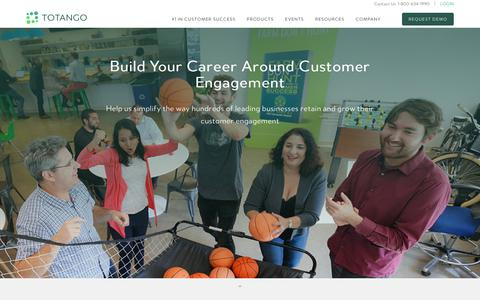 Screenshot of Jobs Page totango.com - Careers | The Proactive Customer Engagement Company | Totango - captured Oct. 2, 2017