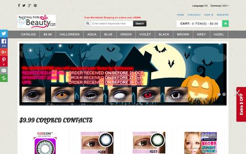 Screenshot of Home Page buying-beauty.com - Cheap Colored Contacts,Halloween Contacts & Coloured Contacts, Dress,Lingerie,Colored Contacts,Coloured Contacts,Halloween Contacts,Costume,Wigs,Cosplay - captured April 15, 2016