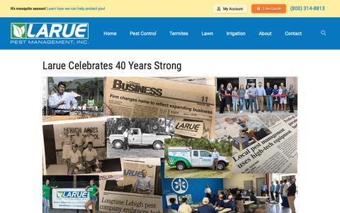 Screenshot of Blog laruepest.com - Blog - Larue Pest Management, Inc. - captured Sept. 27, 2018