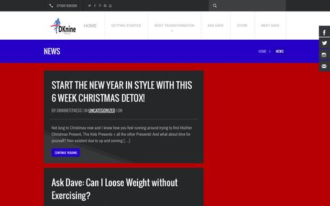 Screenshot of Press Page dknine.co.uk - News | DKnine Fitness - captured Nov. 3, 2014