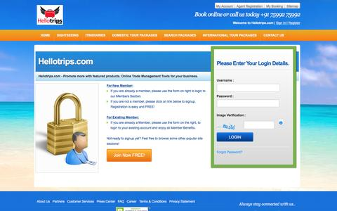 Screenshot of Login Page hellotrips.com - Frontend-Login - captured March 31, 2016