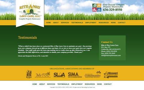 Screenshot of Testimonials Page riteawaylawncare.com - Testimonials «  Rite-A-Way Lawn Care, LLC - captured Oct. 6, 2014
