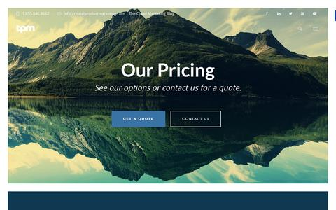 Screenshot of Pricing Page totalproductmarketing.com - Inbound Marketing Pricing - Total Product Marketing - captured Feb. 19, 2016
