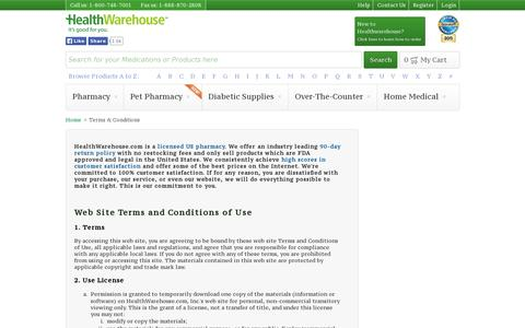 Screenshot of Terms Page healthwarehouse.com - Terms & Conditions - HealthWarehouse.com - captured July 19, 2014