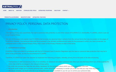 Screenshot of Privacy Page astralpool.co.uk - PRIVACY POLICY. PERSONAL DATA PROTECTION - Stainless Steel Swimming Pools - captured Nov. 1, 2018