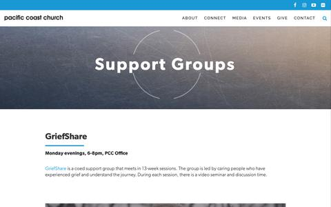 Screenshot of Support Page pacificcoastchurch.org - Support Groups - Pacific Coast Church in San Clemente - captured Dec. 7, 2018