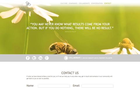 Screenshot of Contact Page prosperitypollinators.com - Contact :: Prosperity Pollinators - captured Sept. 30, 2014