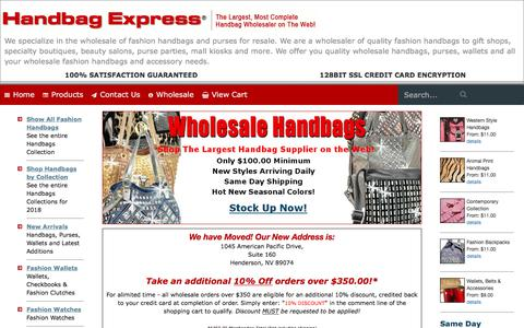 Screenshot of Home Page handbagexpress.com - Handbag Express ® - Wholesale handbags, wholesale designer handbags, wholesale fashion handbags - captured Sept. 23, 2018