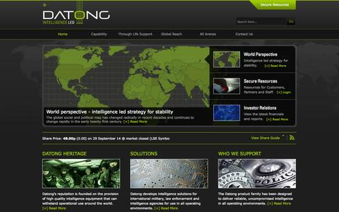 Screenshot of Home Page datong.co.uk - Datong Intelligence LED         Home - captured Sept. 30, 2014
