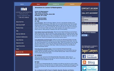 Screenshot of Maps & Directions Page lmlawnyc.com - Directions to Lozner & Mastropietro - Law Firm Lozner & Mastropietro Attorneys Brooklyn, New York - captured Oct. 3, 2014