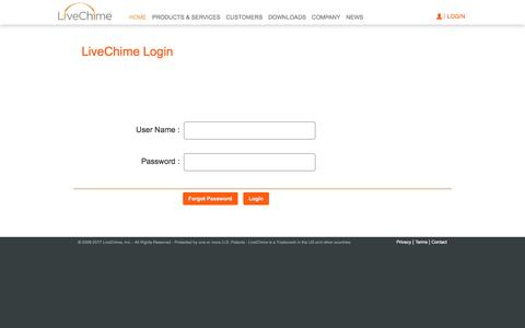 Screenshot of Login Page livechime.com - Intercept Marketing | Marketing in a box local business - | LiveChime - captured Jan. 5, 2017