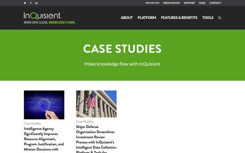 Screenshot of Case Studies Page inquisient.com - Case Studies - InQuisient - captured Nov. 23, 2018