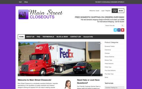 Screenshot of Home Page mainstreetcloseouts.com - MS Closeouts - captured Sept. 30, 2014