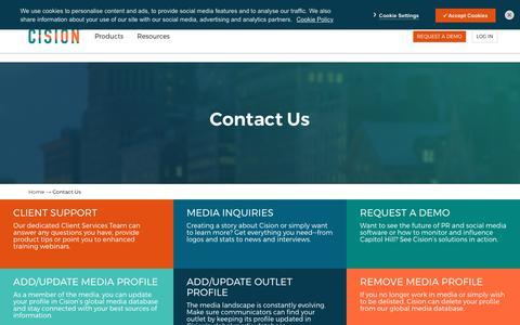 Screenshot of Contact Page cision.com - Contact Cision - captured Nov. 11, 2019