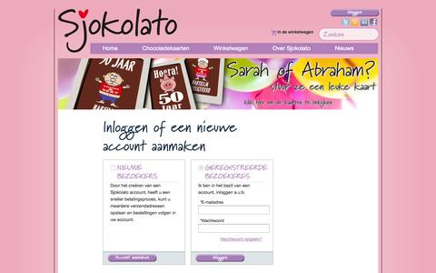 Screenshot of Login Page sjokolato.nl - Customer Login Online chocolade cadeau bestellen / verrassing geschenk kaart - captured Oct. 4, 2014
