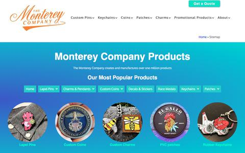 Screenshot of Site Map Page montereycompany.com - Monterey Company Products - Sitemap - captured Nov. 17, 2019