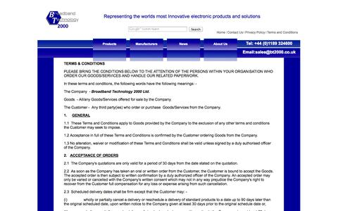 Screenshot of Terms Page bt2000.co.uk - Terms and Conditions - Broadband Technology - captured Oct. 5, 2014