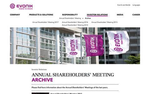 Archive - Evonik Industries AG