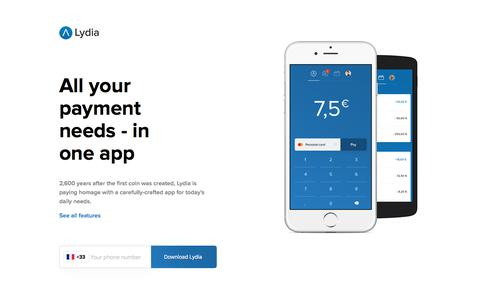 Screenshot of Home Page lydia-app.com - Lydia - mobile payment and card payment app - captured Sept. 11, 2017
