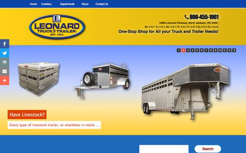 Screenshot of About Page leonardtrailers.com - About | About Leonard Truck & Trailer: 800-455-1001. - captured July 2, 2018