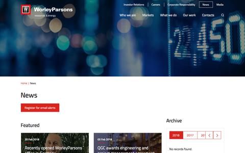 Screenshot of Press Page worleyparsons.com - News – WorleyParsons resources & energy - captured Feb. 20, 2018