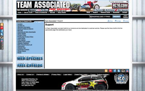 Screenshot of Support Page teamassociated.com - Support: Team Associated - Champions By Design - Nitro and Electric RC Cars - captured Nov. 4, 2014