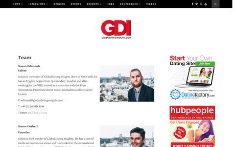 Screenshot of Team Page globaldatinginsights.com - Team - Global Dating Insights - captured July 14, 2016