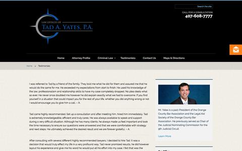 Screenshot of Testimonials Page tadyates.com - Orlando Law Firm, The Law Offices of Tad A. Yates, P.A. | Testimonials - captured July 20, 2017